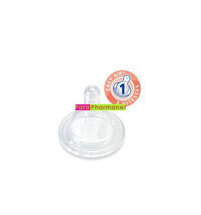 Tetine silicone par 2 col large 0-6 mois Débit 1 DODIE bébé