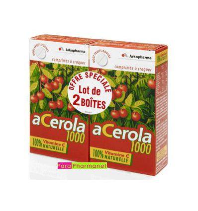 ACEROLA 1000 VITAMINE C lot de 2 boites Arkopharma