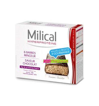 Barres Minceur hyperprotéinée chocolat Milical