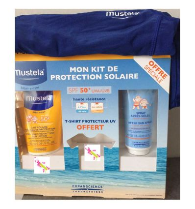 KIT PROTECTION SOLAIRE MUSTELA 21 € SPF 50 T-SHIRT protecteur UV OFFERT