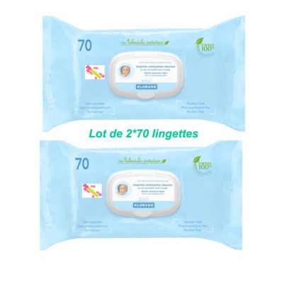 KLORANE BABY Thick Clean wipes PACK OF 2*70 -klorane