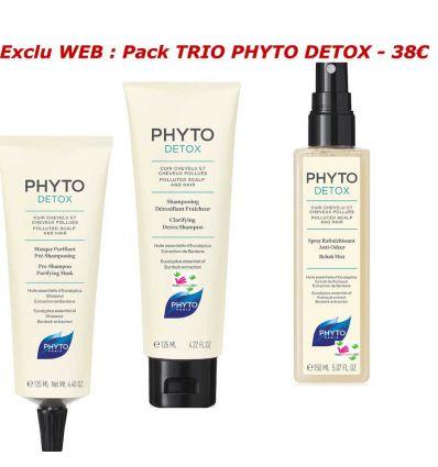 PACK TRIO PHYTO DETOX masque shampooing spray 3 produits