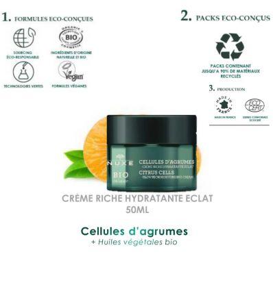 NUXE BIO ORGANIC CELLULES d'AGRUMES crème riche hydratante éclat pot 50 ml