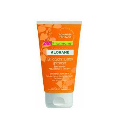 Shower gel srub body care Klorane ultra-rich exfoliating product