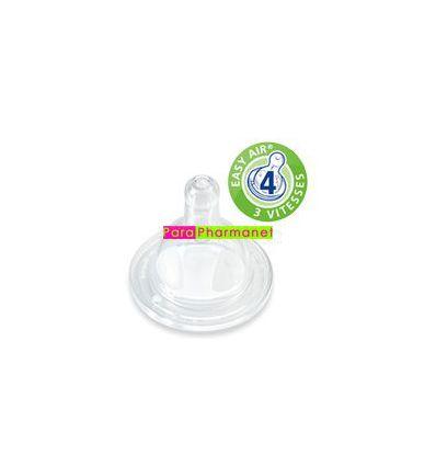 Tetine silicone Evolution par 2 col large +6mois Débit 4 liquide épais DODIE bébé