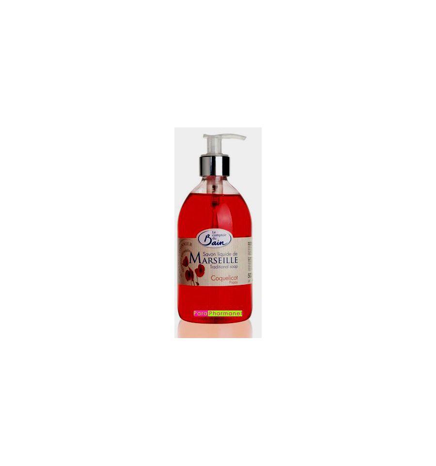 Savon liquide de marseille coquelicot 500 ml le comptoir - Le comptoir du bain savon liquide de marseille ...